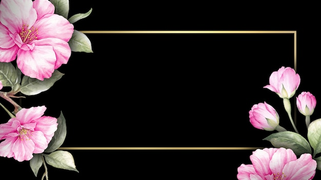Carte d'invitation avec des fleurs de sakura. Photo Premium