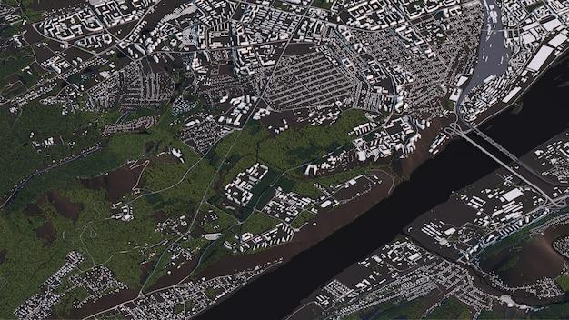 Carte de krasnoyarsk en 3d paysage isométrique routes et bâtiments Photo Premium