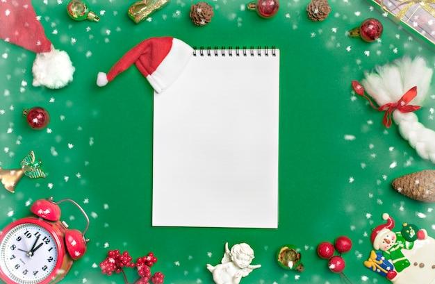 Carte postale bonne composition de lay plat de bonne année Photo Premium