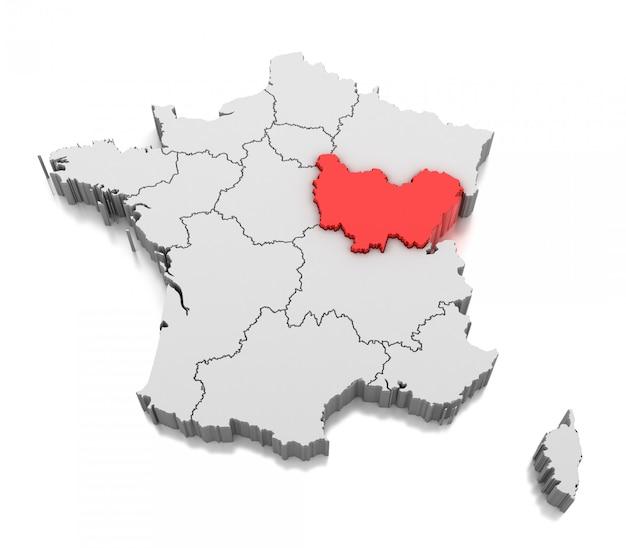Carte De La Région Bourgogne-franche-comté, France | Photo ...