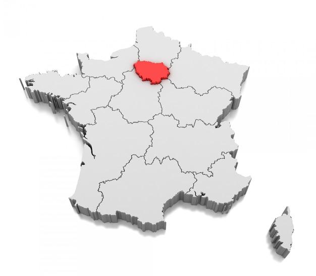 Carte De La Région île-de-france, France | Photo Premium
