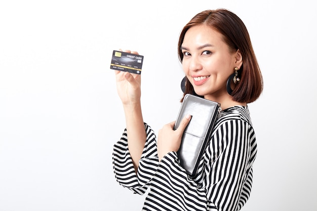 Carte de tenue de femme asiatique Photo Premium