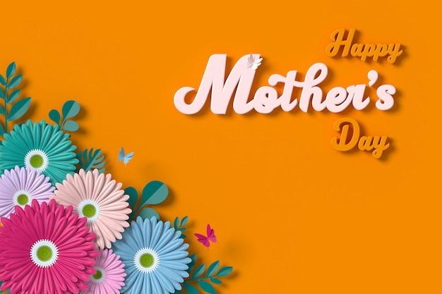Carte de voeux fête des mères fleur 3d rendu avec un tracé de détourage. Photo Premium