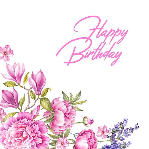 Carte De Voeux Joyeux Anniversaire Bouquet De Fleurs Roses Photo Premium
