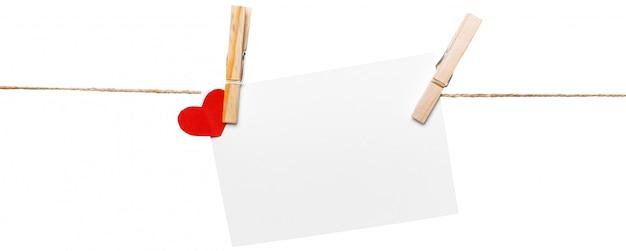 Cartes sur corde, espace copie Photo Premium