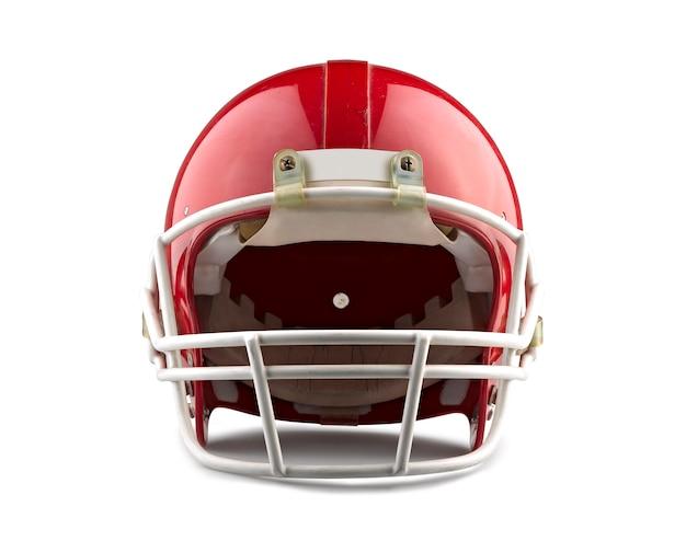 Casque de football américain rouge isolé sur fond blanc avec un tracé de détourage détaillé. Photo Premium