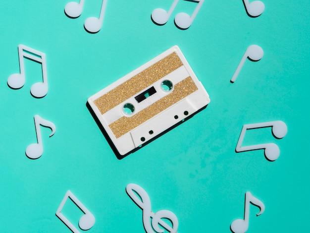 Cassette vintage blanche vue de dessus Photo gratuit