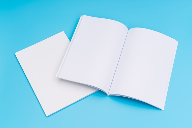 Le catalogue en blanc, les magazines, le livre se moquent sur fond bleu. . Photo gratuit