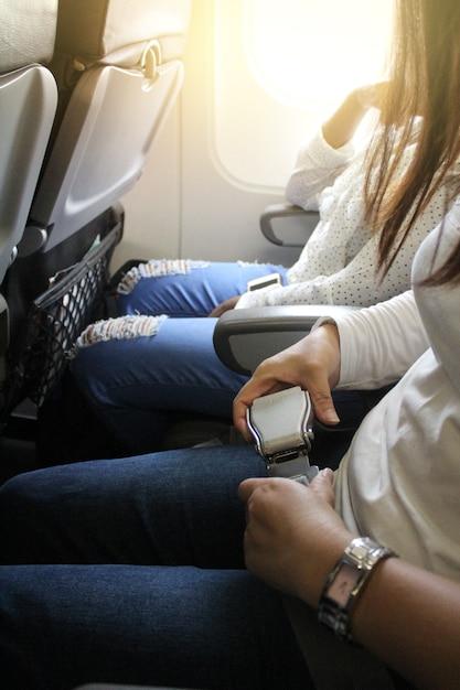 Ceinture de sécurité d'avion. Photo Premium