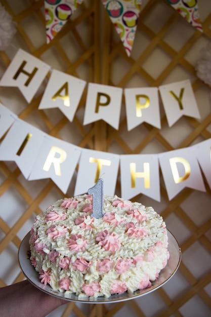 Célébrer le premier anniversaire. organisation de fêtes d'enfants Photo Premium