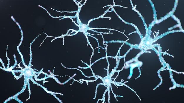 Cellules Neurales Abstraites Avec Des Points Lumineux. Photo Premium