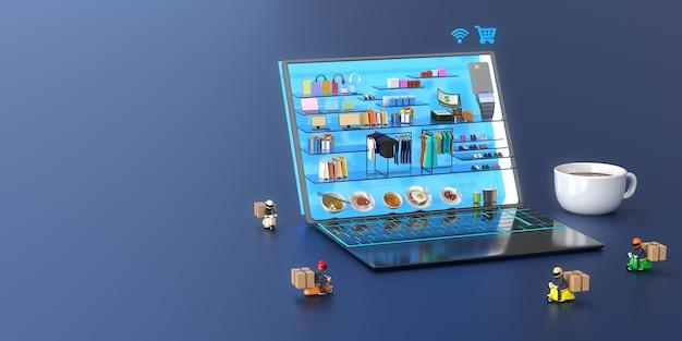 Centre Commercial En Ligne Dans Un Ordinateur Portable Avec Livreur Et Une Tasse De Café Photo Premium