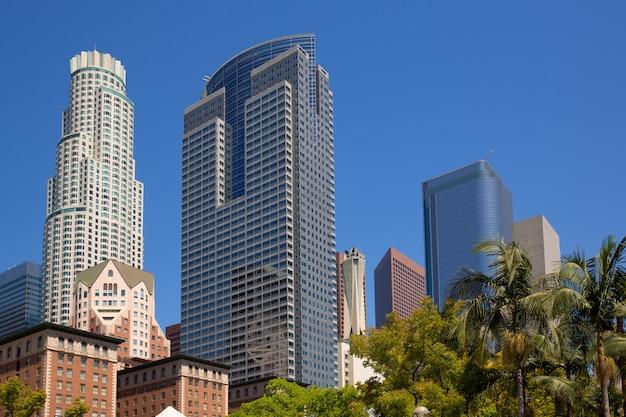 La centre-ville de los angeles pershing square palm tress Photo Premium