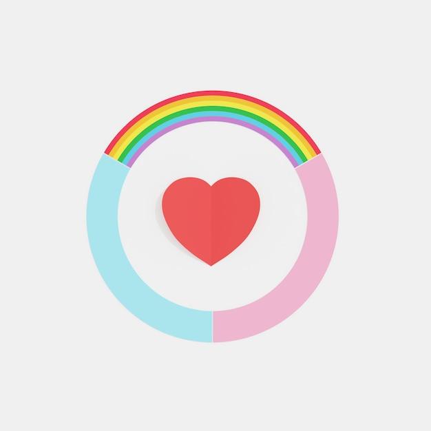 Cercle de couleur arc en ciel, bleu et rose d'amour avec coeur rouge au milieu, concept minimal créatif, rendu 3d Photo Premium