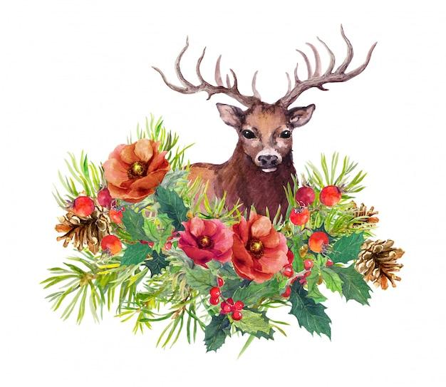 Cerf animal, fleurs d'hiver, sapin, gui pour carte de noël Photo Premium