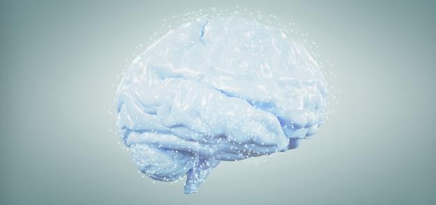 Cerveau artificiel rendu 3d isolé sur un fond Photo Premium