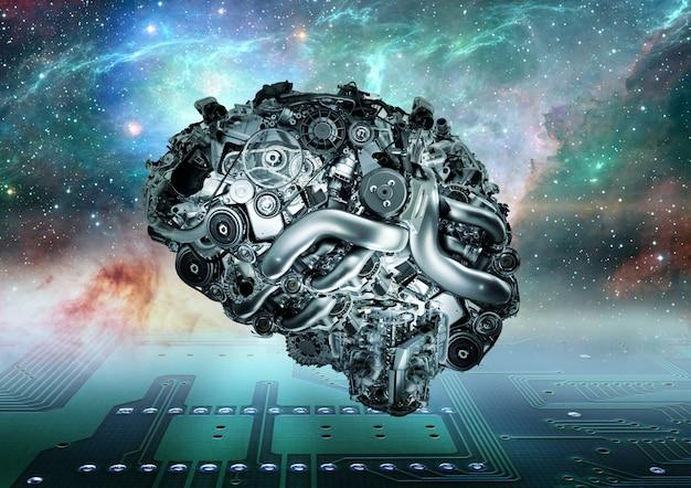 Cerveau mécanique sur fond futuriste Photo Premium