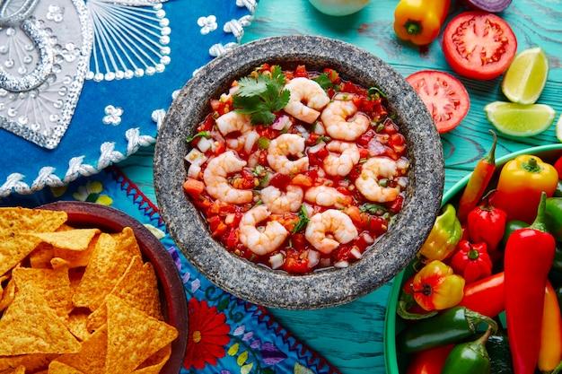 Ceviche de camaron molcajete de crevettes du mexique Photo Premium