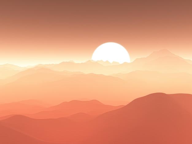 Chaîne de montagnes brumeuse 3d contre ciel coucher de soleil Photo gratuit