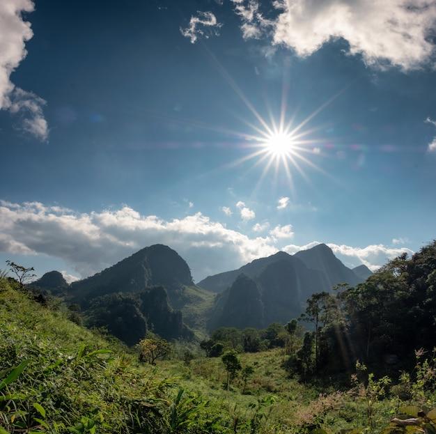Chaîne de montagnes dans la forêt tropicale humide avec le soleil au sanctuaire de la faune Photo Premium
