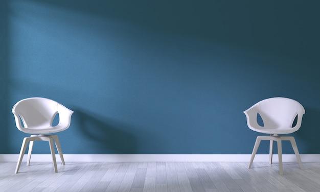 Chaise blanche sur fond de mur bleu foncé Photo Premium