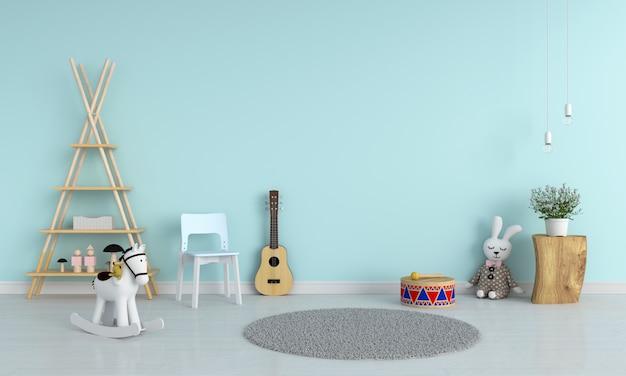 Chaise bleue et guitare dans la chambre d'enfant pour maquette, rendu 3d Photo Premium