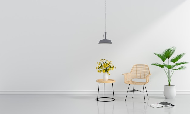 Chaise en bois dans la salle blanche pour maquette Photo Premium