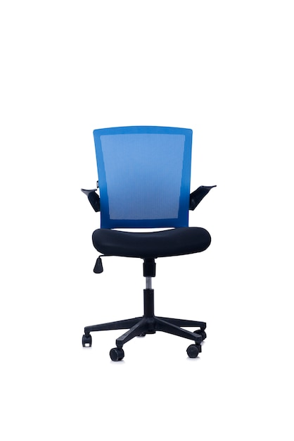 Chaise de bureau bleue isolée sur fond blanc Photo Premium