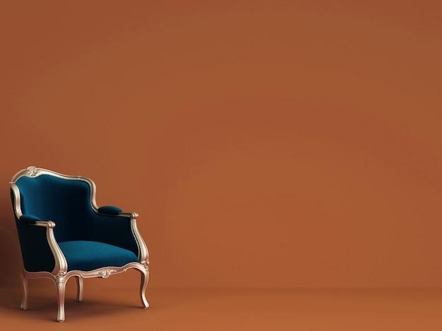Chaise Classique En Bleu Et Or Sur Mur Rorange Avec Espace Copie Photo Premium