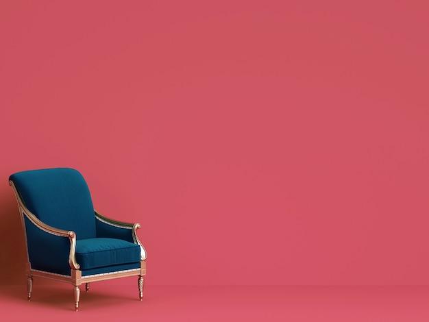 Chaise Classique En Bleu Et Or Sur Mur Rose Avec Espace Copie Photo Premium