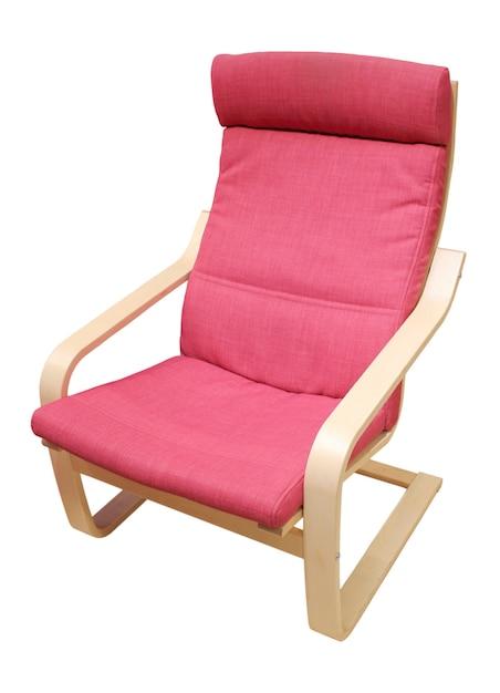Chaise Confortable Et Douce, Rembourrée En Matériau Rouge, Isolé Sur Fond Blanc Photo Premium