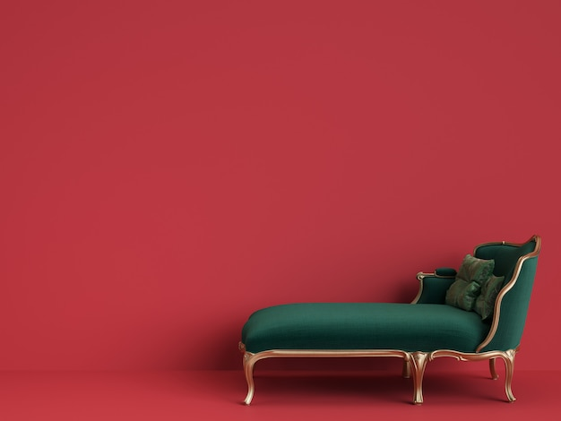 Chaise Longue Classique En Vert émeraude Et Or Avec Espace Copie Photo Premium