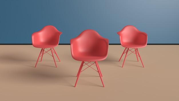 Chaise Moderne Dans Une Pièce Jaune Pastel Avec Espace De Copie Photo Premium