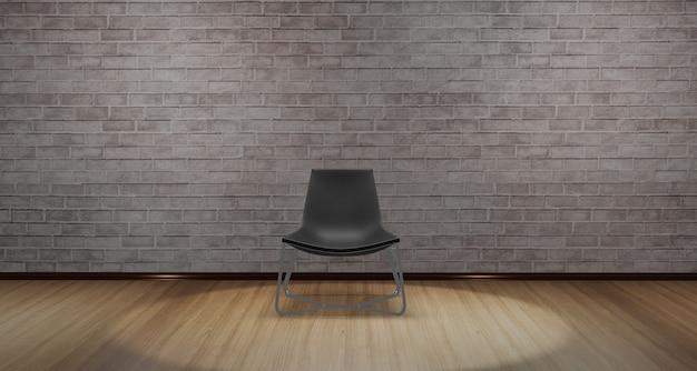 Chaise Moderne Placée Au Milieu De La Pièce Avec Une Lumière Brillante D'en Haut Photo Premium
