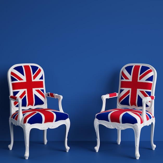 Chaises Drapeau Royaume-uni Sur Mur Bleu Avec Espace De Copie. Rendu 3d Photo Premium
