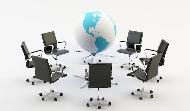 Chaises Et Table De Bureau Photo Premium