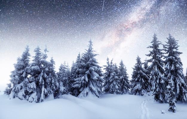 Chalets à La Montagne La Nuit à La Belle étoile. Gracieuseté De La Nasa. Evénement Magique En Journée Glaciale. Photo Premium