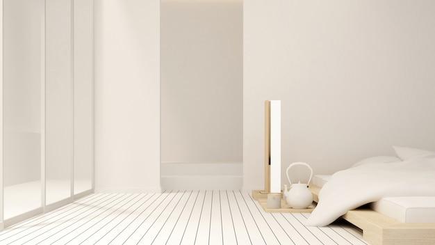 Chambre et balcon d'appartement ou d'hôtel - design d'intérieur - rendu 3d Photo Premium