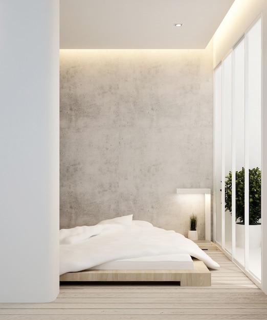 Chambre et balcon dans un hôtel ou un appartement - aménagement intérieur - rendu 3d Photo Premium