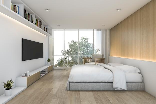 Chambre à Coucher En Bois Minimaliste Avec Télévision Et étagère Photo Premium