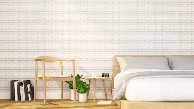 Chambre à coucher et espace de détente dans un appartement ou un hôtel - aménagement intérieur - rendu 3d Photo Premium