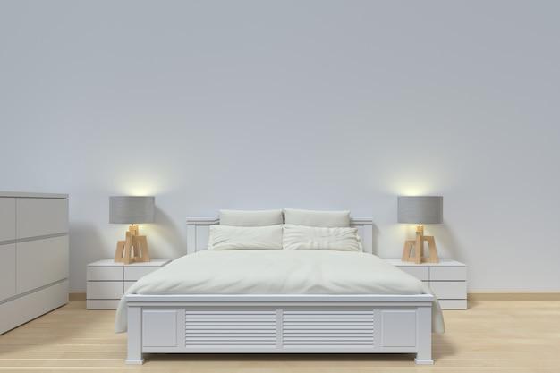 Chambre à coucher moderne avec lampe et armoire Photo Premium