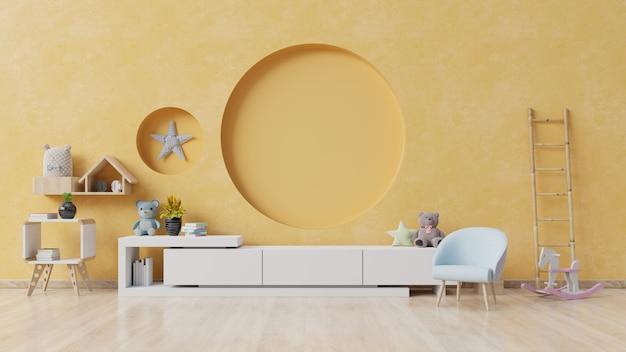 Chambre d'enfant avec fauteuil et cabinet. Photo Premium
