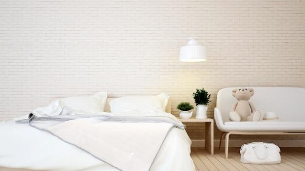 Chambre d'enfant et salon en appartement ou à la maison - rendu 3d Photo Premium