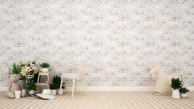 Chambre d'enfant ou salon dans la maison ou l'appartement - rendu 3d Photo Premium