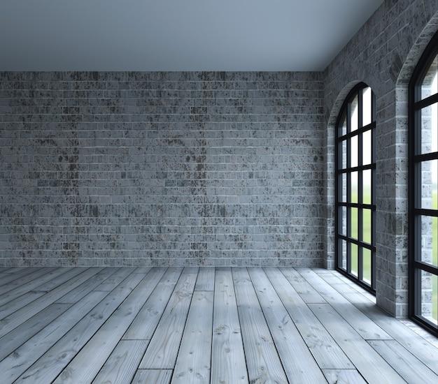 Chambre avec grande fenêtres Photo gratuit