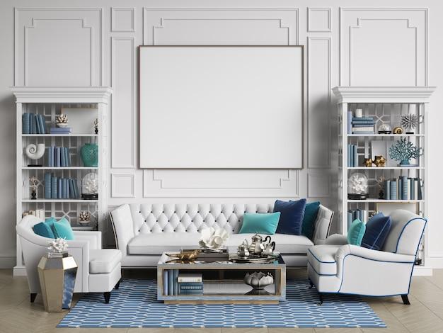 Chambre Intérieure Classique Aux Couleurs Bleu Et Blanc Avec Espace Copie Photo Premium