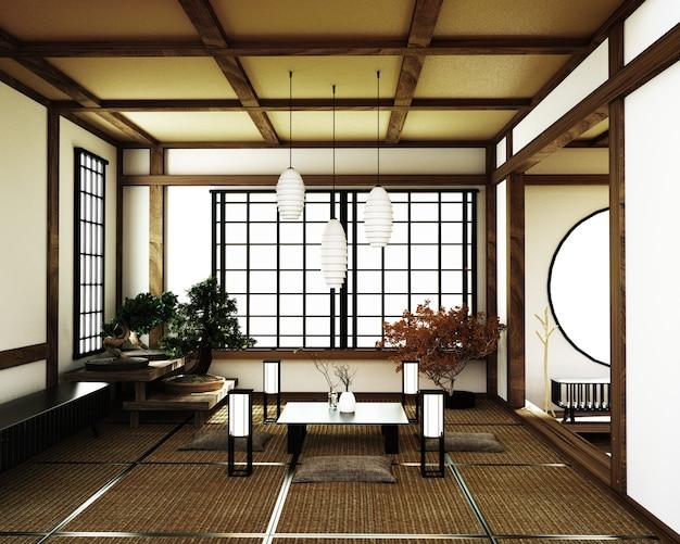 Chambre japonaise, style zen de kyoto. rendu 3d ...