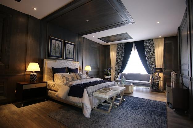 Chambre de luxe avec un design intérieur classique Photo Premium
