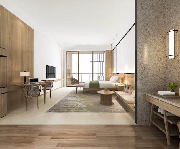 Chambre De Luxe Et Salle De Bains De Luxe En Rendu 3d Photo Premium